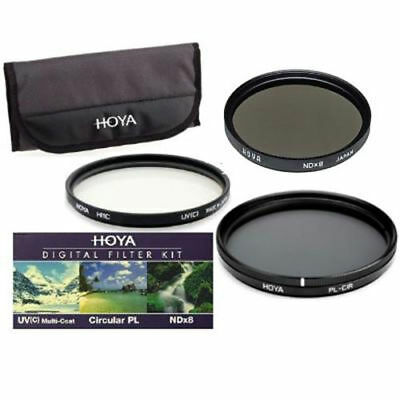 Hoya 77mm 3x Filter Kit HMC Digital UV(C) + Circular Polarising CPL + ND8 Pouch