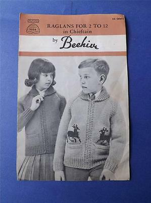 Pattern Patons Raglans For 2 To 12 Child Chieftan By Beehive Knit Sweater Coat