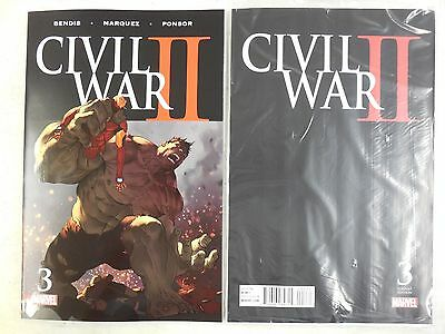 2x DEATH of HULK ~ CIVIL WAR II #3 COMIC Reg & BAGGED Variant QUESADA MARVEL 2