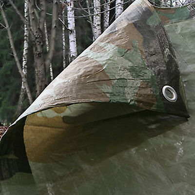 4.5M x 6.0M ARMY CAMOUFLAGE WATERPROOF TARPAULIN SHEET TARP COVER WITH EYELETS