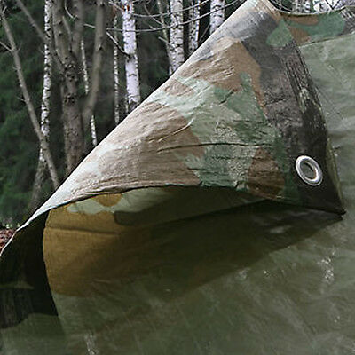 5.4M x 7.0M ARMY CAMOUFLAGE WATERPROOF TARPAULIN SHEET TARP COVER WITH EYELETS