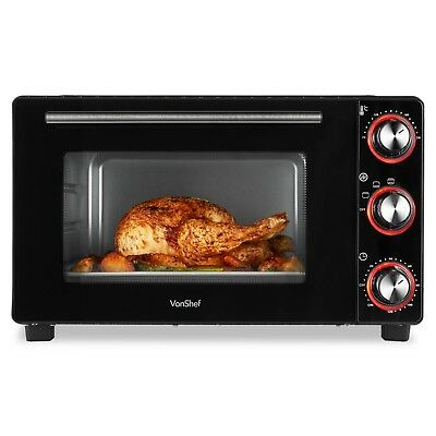 VonShef Mini Oven 30 Litre Black Table Top Grill Baking Wire Tray