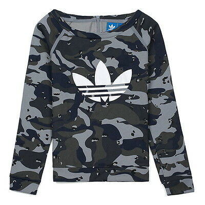 Adidas junior girls camo print zip back crew fleece sweatshirt M65962 ages 2-13