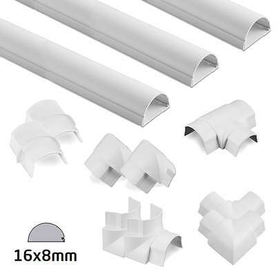 D-Line White Semi-circular Trunking 16x8mm Kit - 6 Metres with 9 Accessories