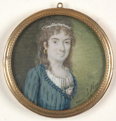 "Maximilien Lefebvre ""Female portrait"", fine miniature organic wafer, 1780/90s"