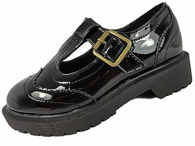Girls Black Patent T Bar Faux Leather Brogue Chunky School Shoes  *SMALL FITTING