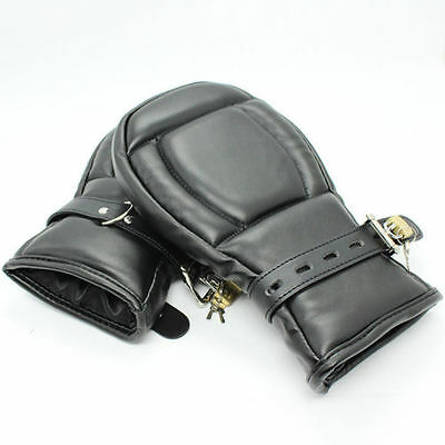 leather puppy mitts hand restraints, straight jacket arm restraints