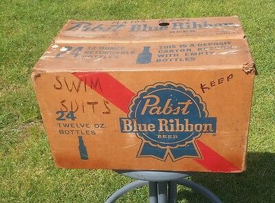 Cool Vintage Pabst Blue Ribbon Waxed Cardboard Beer Case For 24-12 oz Bottles
