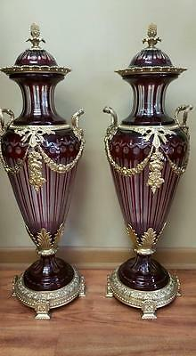 Vintage Pair Of Dark Red Italian Cut Crystal Vases With Gilt Bronze Mounts Rare