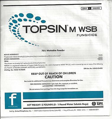 Topsin M WSB Fungicide Thiophanate-methyl 70% (5 x 1 lb Water Soluble Bags)
