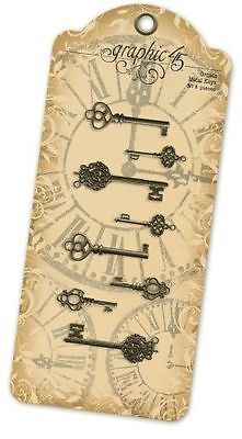 "Graphic45 Staples Metal Clock Keys Antique Brass 2X1/"" To 3X1.125/"" 6 Schlüssel"
