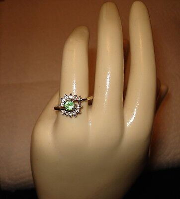 1960s 14k gold-filled ring ESPO. Peridot over 2 diamond curves, 7.5 Made in USA