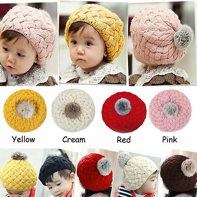 Cute Baby Infant Girls Toddler Winter Warm Knitted Crochet Hat Cap Beanie