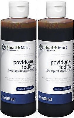10% Povidone Iodine SOLUTION 8 oz HealthMart ( 2 pack ) PRIORITY SHIP!