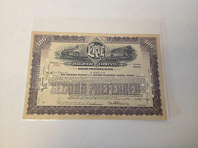 1936 Erie Railroad Company Pennsylvania 100 Shares Cancelled Stock Certificate