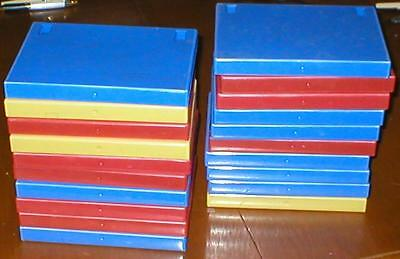 Lot of 20 Empty, Clean, Extra-Thick DVD/CD/Tape Cases - Blue, Red, Yellow