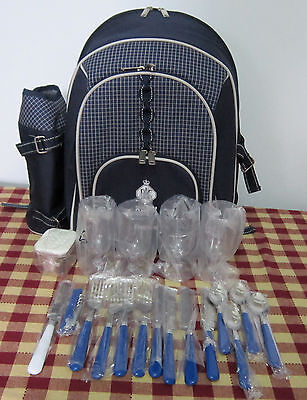 4 Person Insulated Picnic Backpack inc. utensils, plates,wine bottle opener,etc.