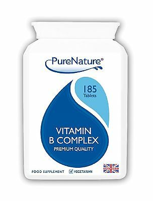 185 Vitamin B Complex Vegetarian Tablets 6mths Supply Contains All 8 B Vitamins