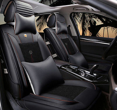 New Universal PU Leather Car Seat Covers Front + Rear Cover Set 6pcs/set Black