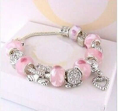 Fashion EUROPEAN Jewelry Wholesale Solid 925silver Beads Charms Chain Bracelet