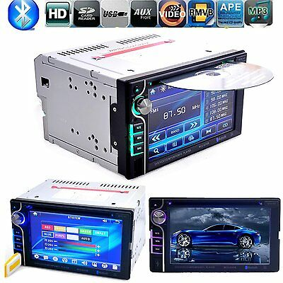 "6.2"" 2 DIN Stereo Autoradio Bluetooth Touch Screen DVD CD Player AUX FM SD Audio"