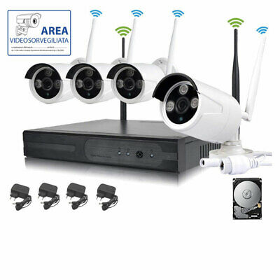 Kit Videosorveglianza Wireless Full Hd Ip 4 Telecamere Ahd Nvr 2 Mpx 3G 500 Gb