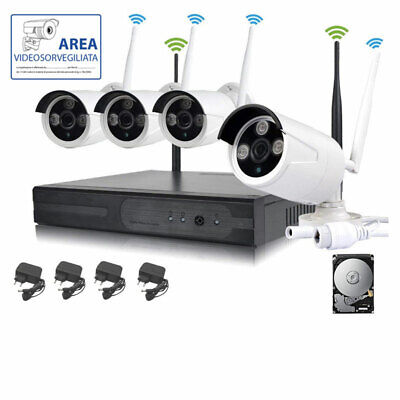 Kit Videosorveglianza Wireless Full Wifi Hd Ip 4 Telecamere Nvr Lan Remoto 3G 1