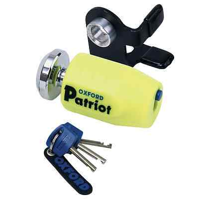 New Oxford Motorcycle Bike Compact Patriot Disk Lock W/ 14mm Short Shackle Pin