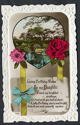 POSTED C1920S BIRTHDAY Card: Yellow Roses: Best Wishes To My