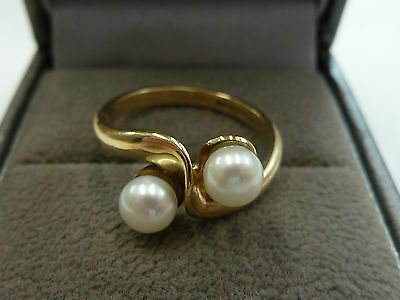 9ct Yellow Gold Double Pearl Ring Size L