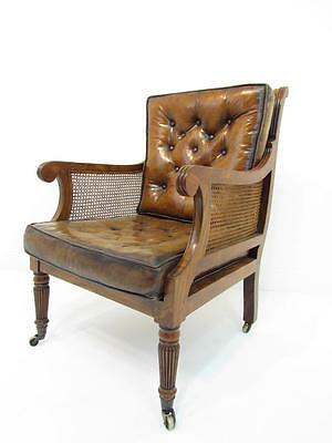 Stunning Antique Style Walnut Chesterfield  Leather Desk Chair Armchair
