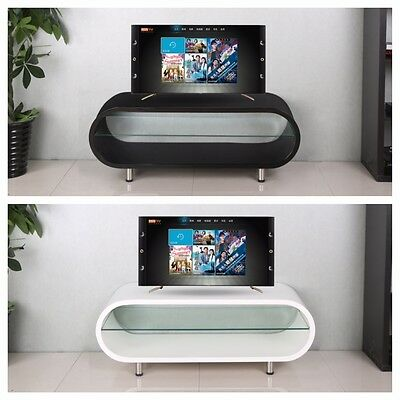 """Oval High Gloss TV Stand Modern Entertainment Unit Black White For 28"""" to 50"""""""