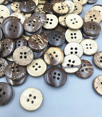 DIY 100pcs Round Fit sewing or Scrapbooking craft Coconut buttons 4-hoels 15mm