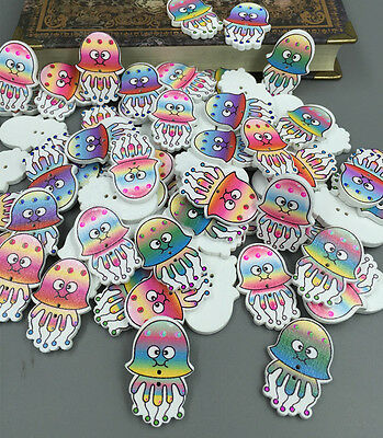 50pcs Multicolor jellyfish Pattern Wooden Buttons Fit Sewing Scrapbooking 32mm