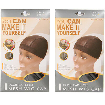Two of Peach&Pear Mesh Wig Cap - Dome Cap Style - Black