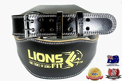 "Lions Fit 6""wide Black Color Genuine Leather Weightlifting Bodybuilding Gym Belt"