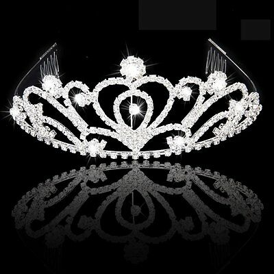 HIPS Fashion Wedding Party Bride Crown Rhinestones Headband Comb Tiara White