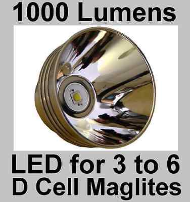 Maglite LED Upgrade Conversion 3-6 D Cell Torch. Brightest 1000 Lumen 10W Bulb.