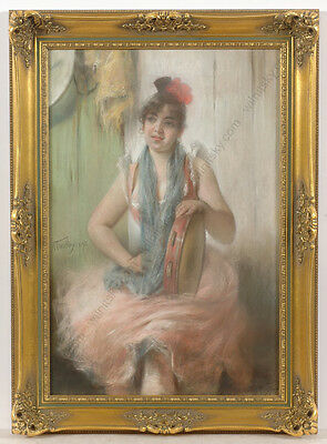 "Angelo Trentin (1850-1912) ""Italian girl with tamburine"", pastel, 1892"
