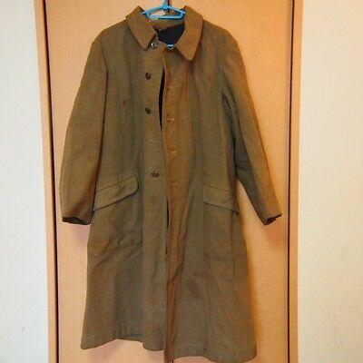 AA47 Long Coat For Winter Khaki Lining Black Material Japanese Antique WW2 Era