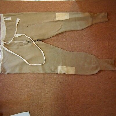 AA52 Knit Trouser Moth Hole Pocket Adjustment Waist Japanese Antique WW2 Beige