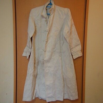 AA51 White Long Coat Jacket Thin Material Dirt Stain Japanese Antique WW2