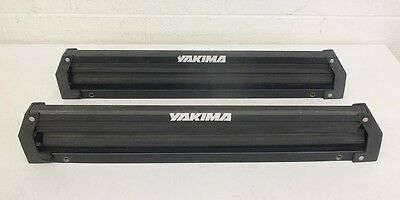 """Pair Older Yakima Ski/Snowboard Carriers w/22.5"""" Usable Area & Lock Cores NO KEY"""