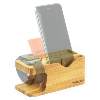 Spigen® [S370] For Apple Watch / iPhone Stand Bamboo Charging Dock Station