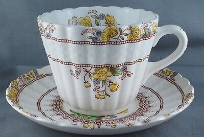 Copeland Spode Buttercup Cup and Saucer (four available) Brown Mark