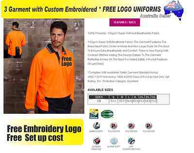 3  x HI VIS  Work shirts with Your Embroidered * FREE  LOGO  WORKWEAR  456