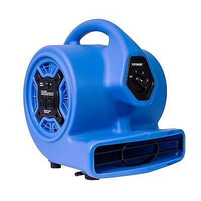 XPOWER P-100A 1/8 HP Mini Air Mover Carpet Dryer Blower Floor Fan w/ Dual Outlet