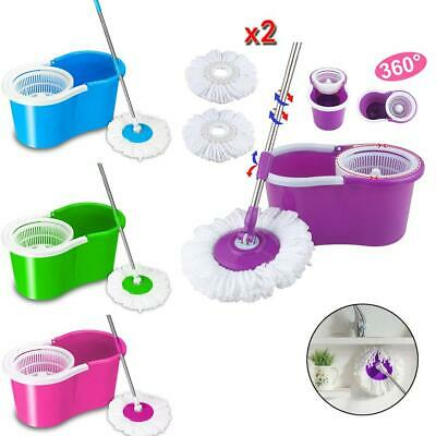 Easy Magic Floor Mop 360°Bucket with 2 Heads Microfiber Spining Head MultiColor