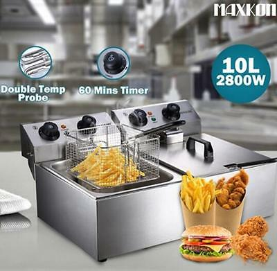 20L Double 2800W Pan Stainless Steel Auto Deep Fryer with Temperature Control