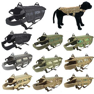 Police K9 Tactical Military Molle Dog Harness Training Nylon Vest XS S M L XL